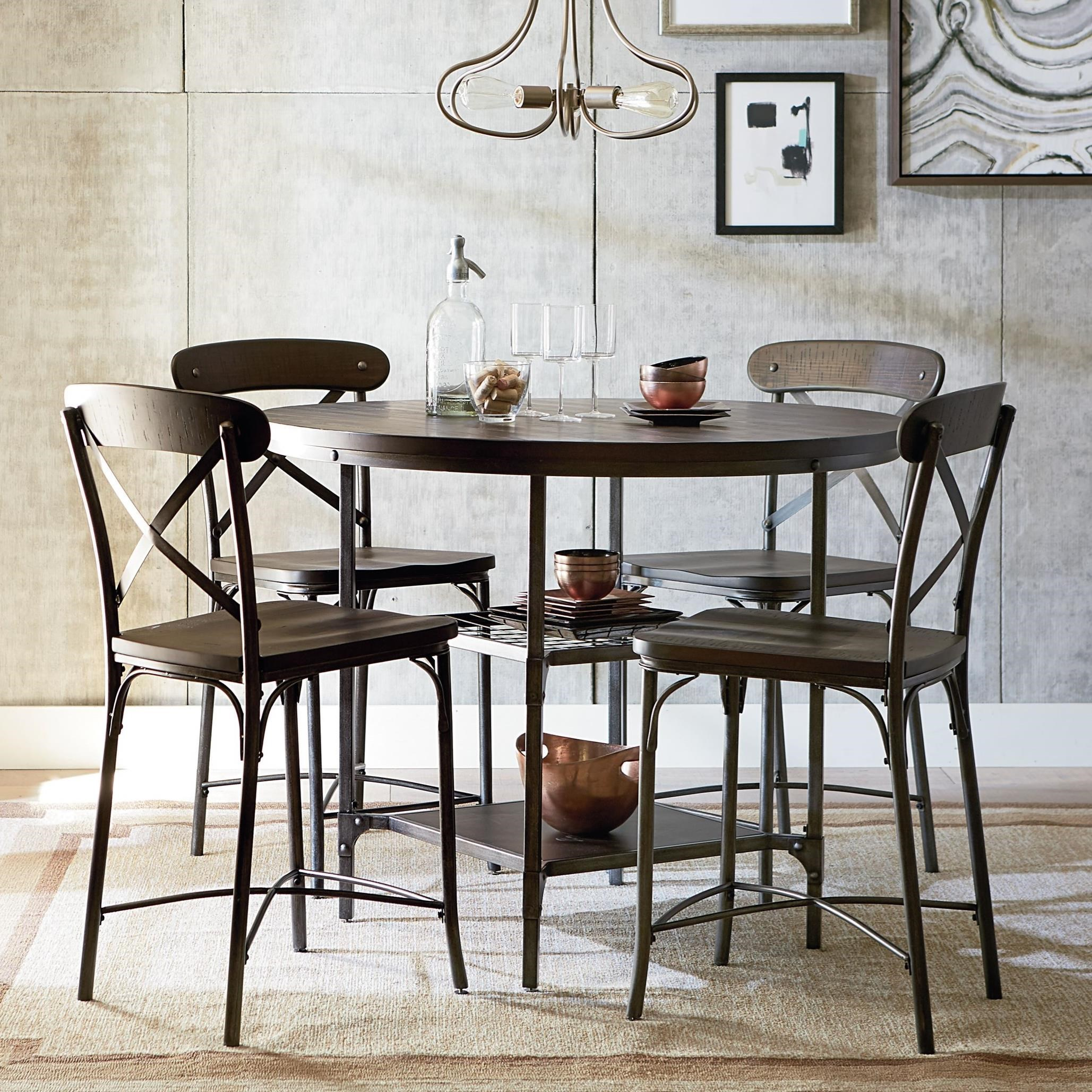 Standard furniture montvale rustic bar height dining set for Breakfast table set with stools