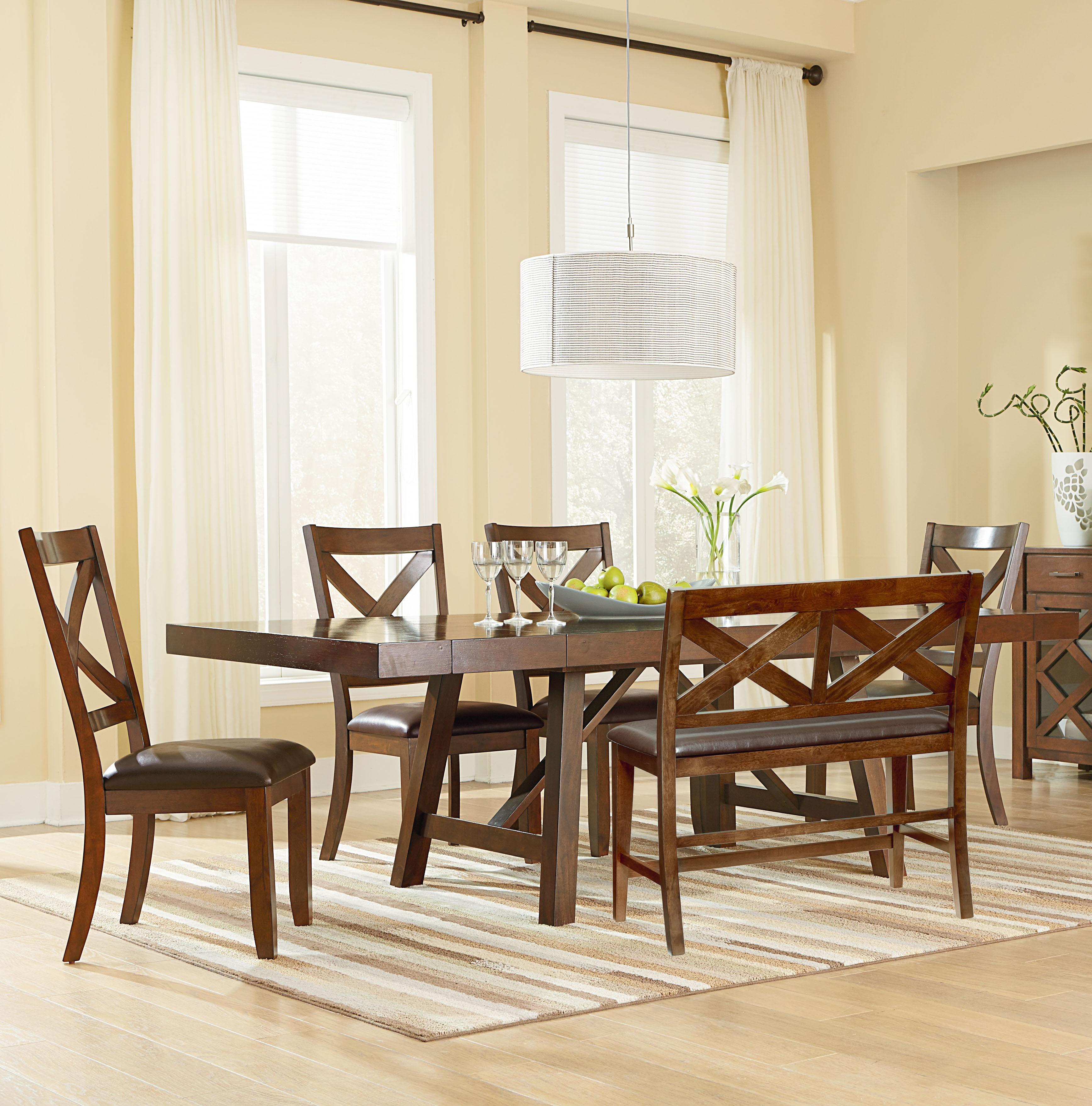 Standard Furniture Omaha Brown Table and Chair Set with Bench - Item Number: 16181+16189+4x16184