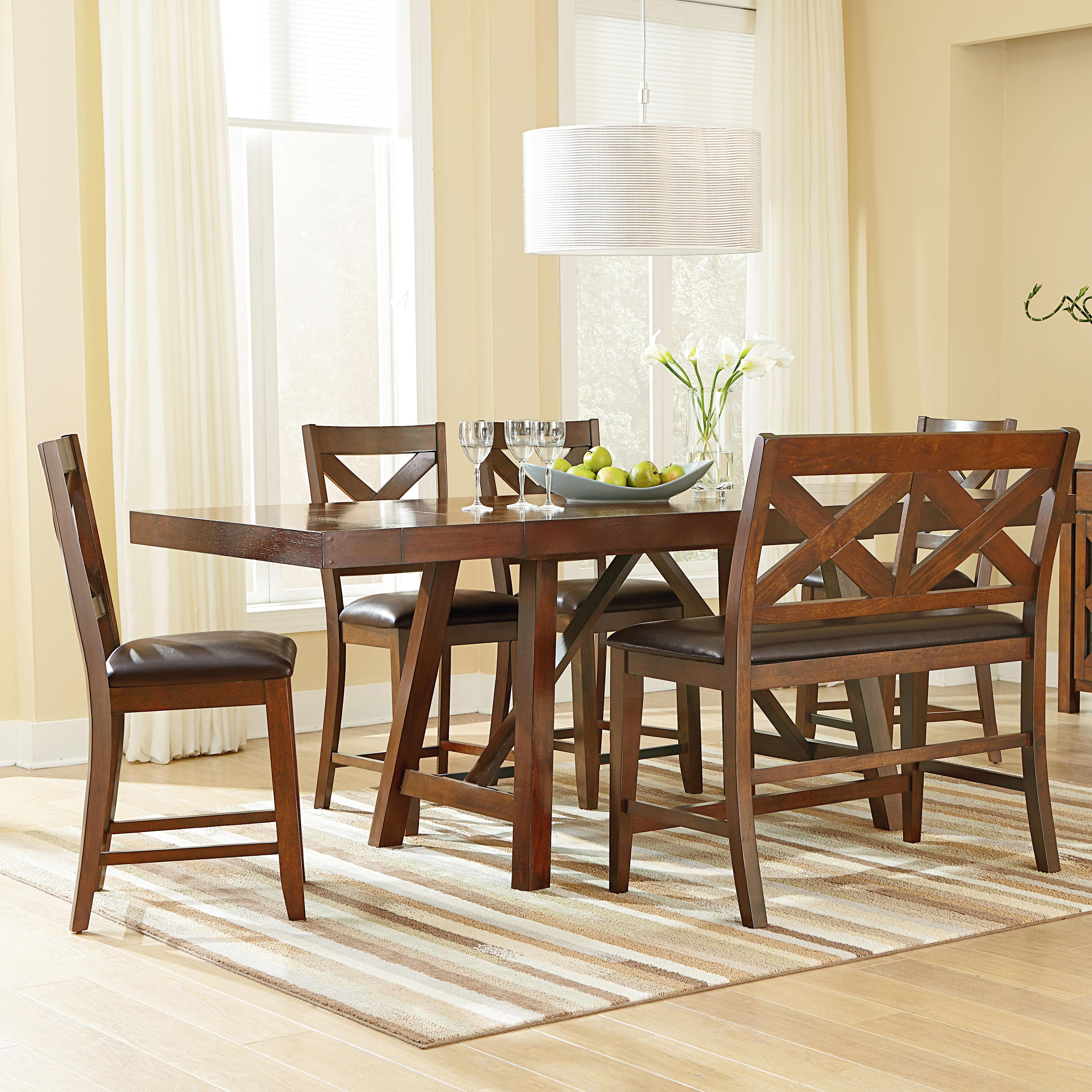 Standard Furniture Omaha Brown Counter Height Table Set - Item Number: 16196+4x16194+16199
