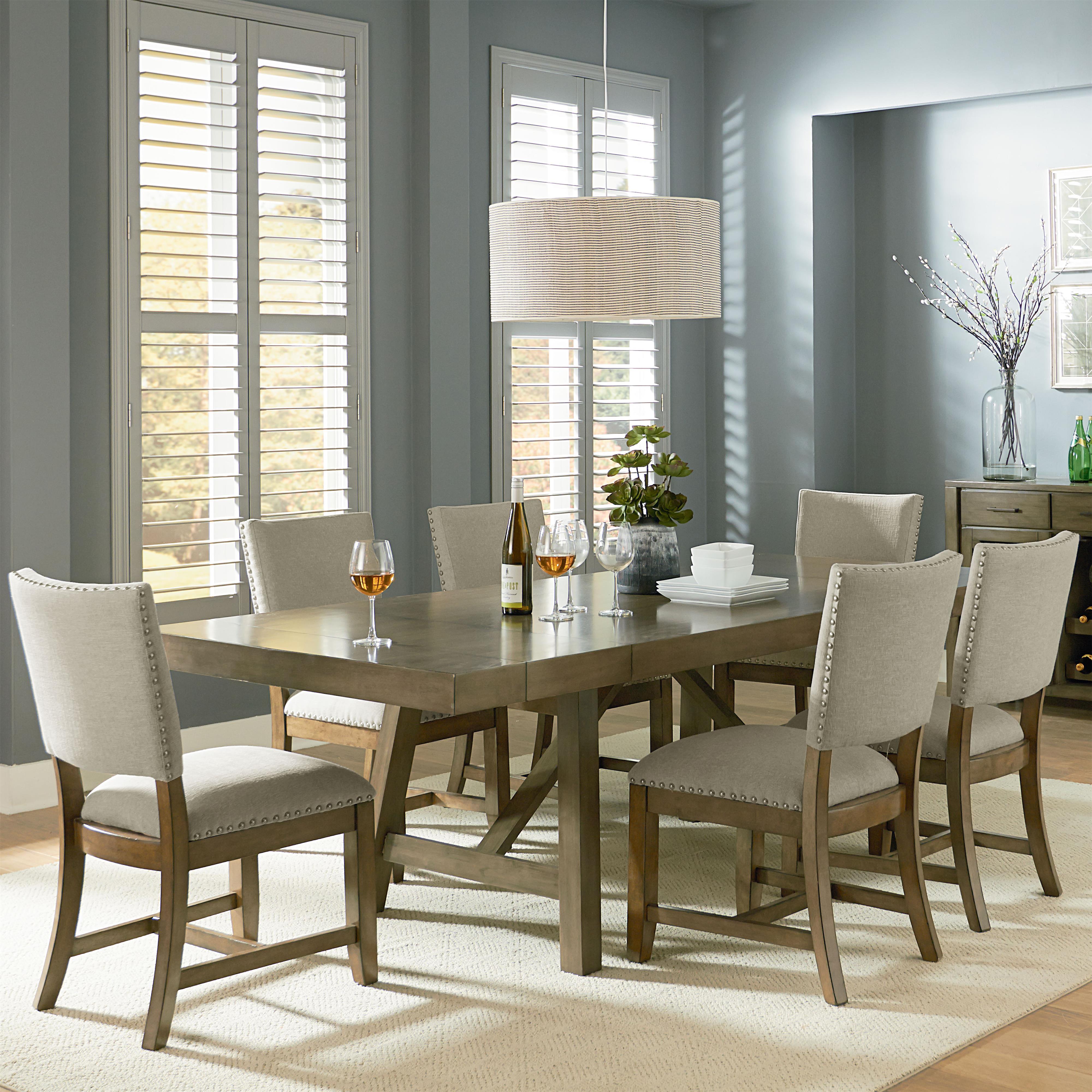 Standard Furniture Omaha Grey Trestle Table Dining Set - Item Number: 16681+6x87