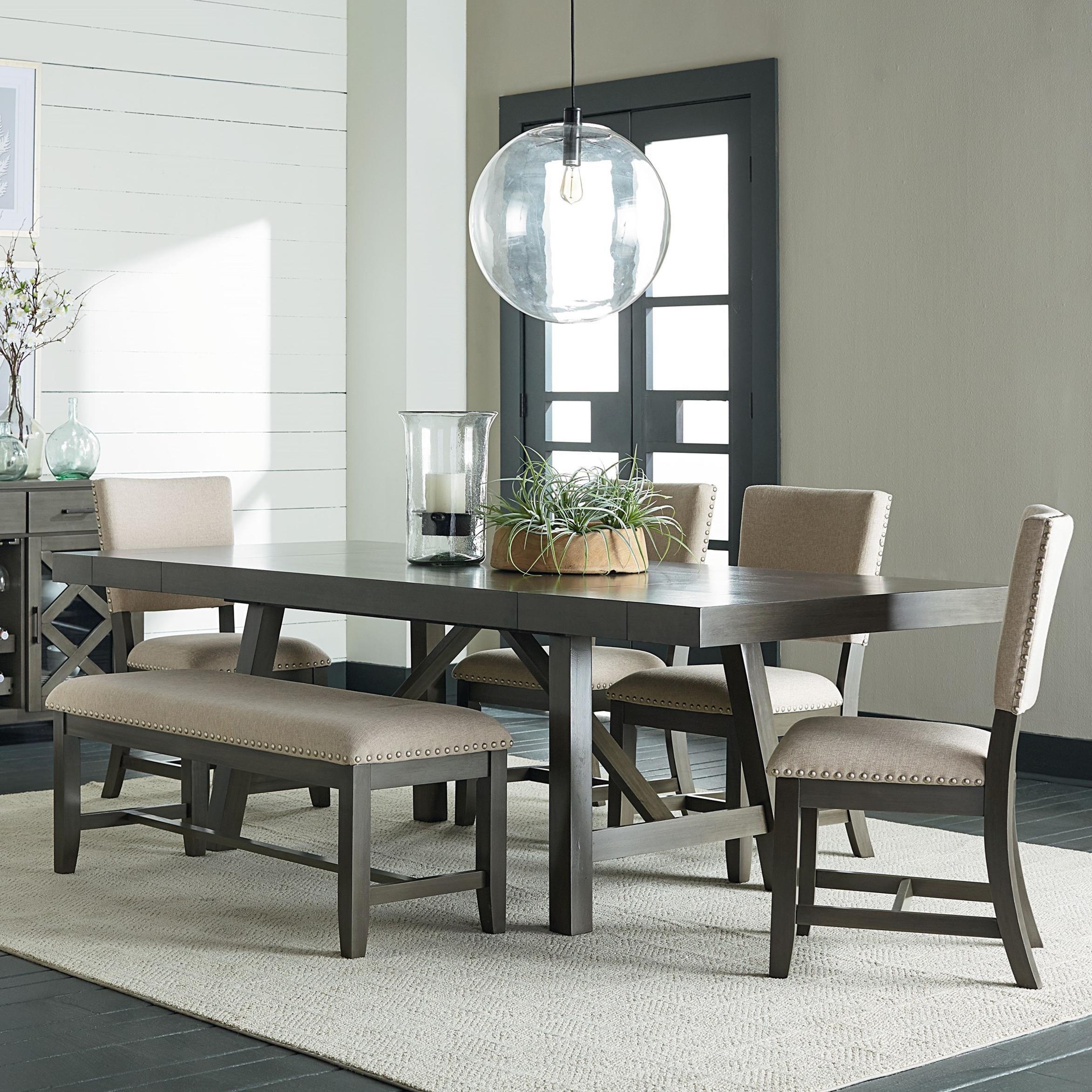 Standard Furniture Omaha Grey Trestle Table Dining Set - Item Number: 16681+88+4x87