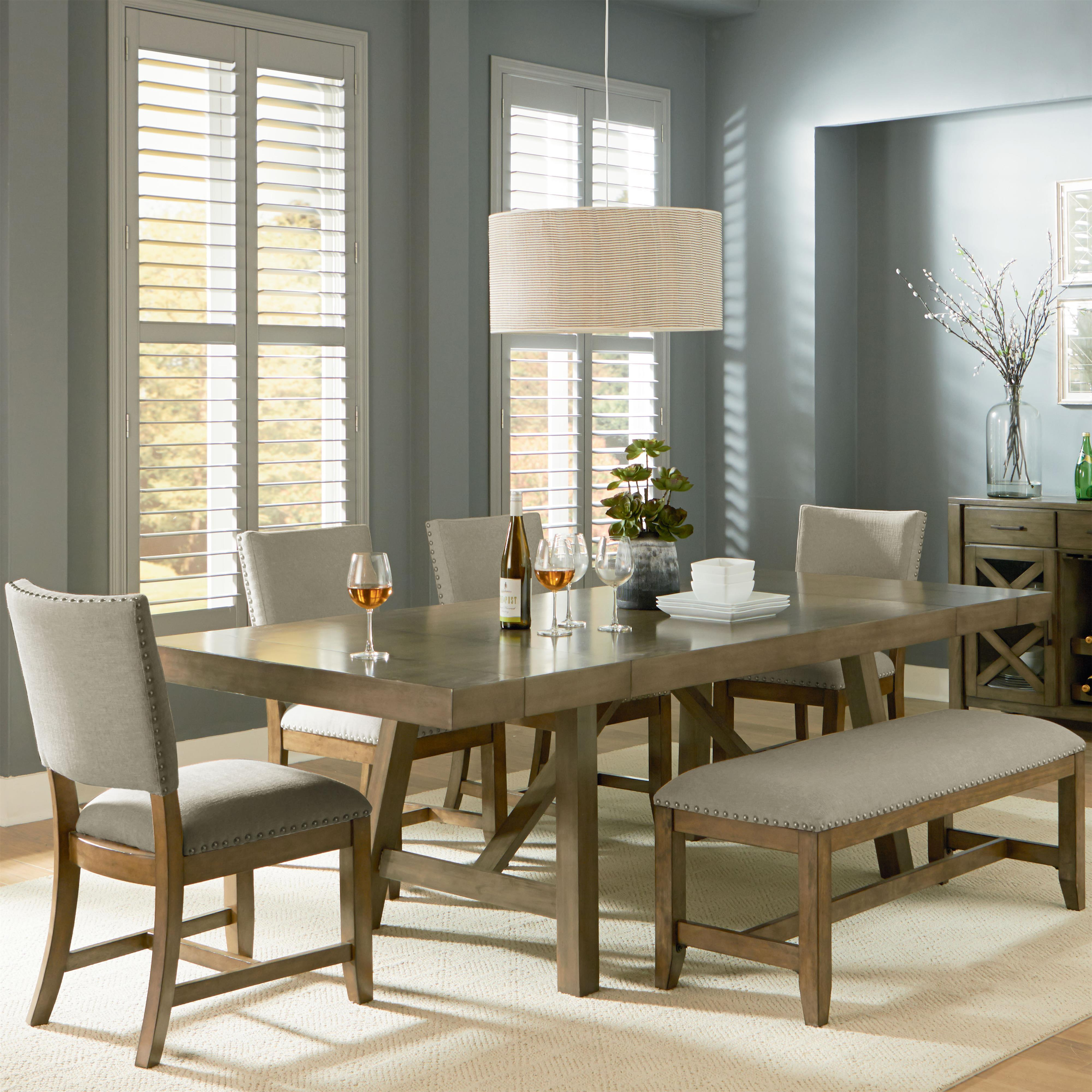 Standard Furniture Omaha Grey Trestle Table Dining Set - Item Number: 16681+88+4x87