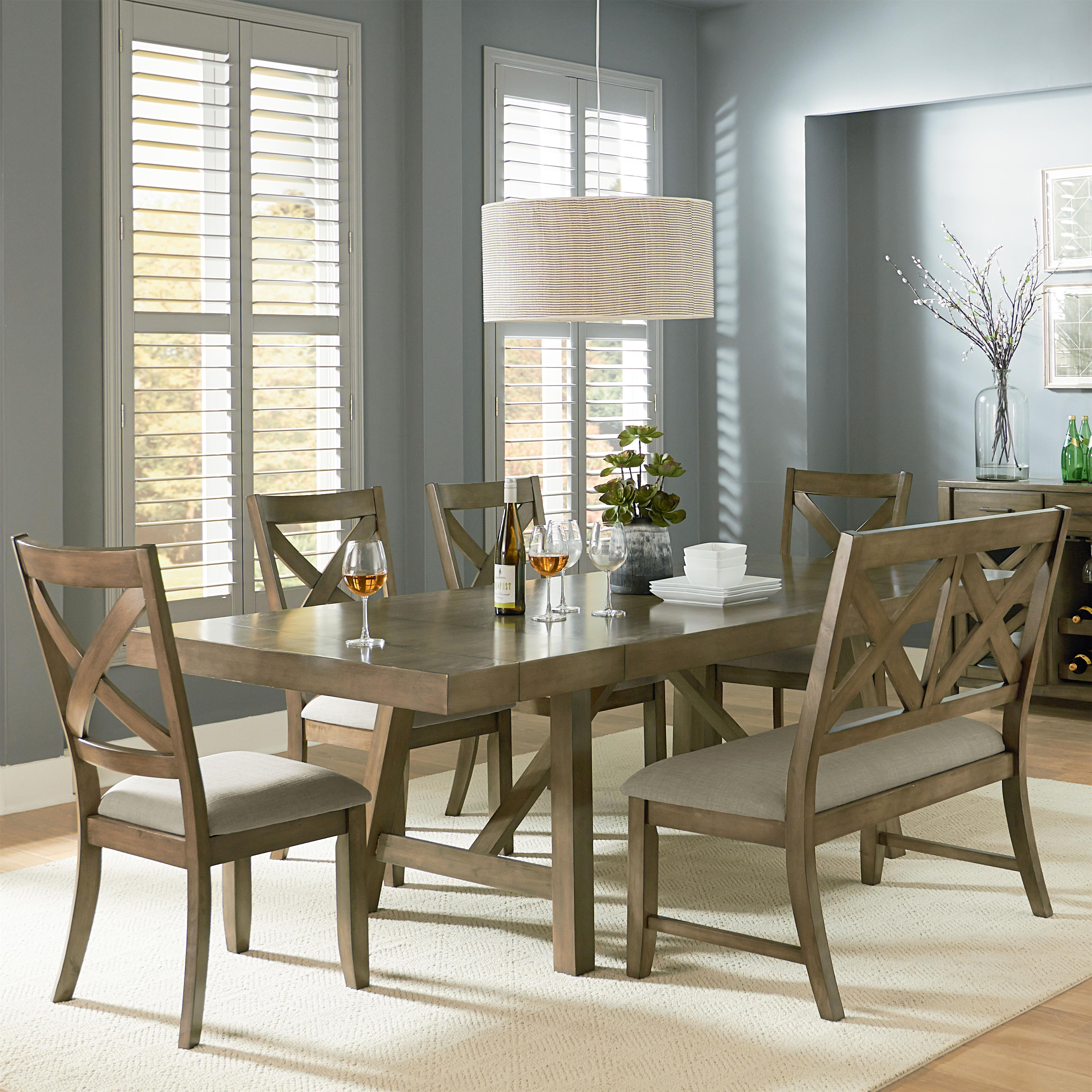 Standard Furniture Omaha Grey Trestle Table Dining Set - Item Number: 16681+89+4x84
