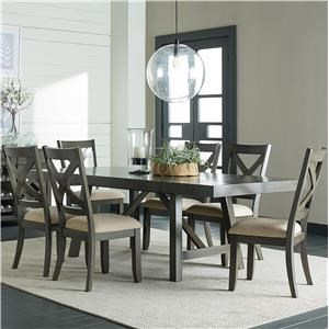 Standard Furniture Omaha Grey 5 Piece Trestle Table Dining Set