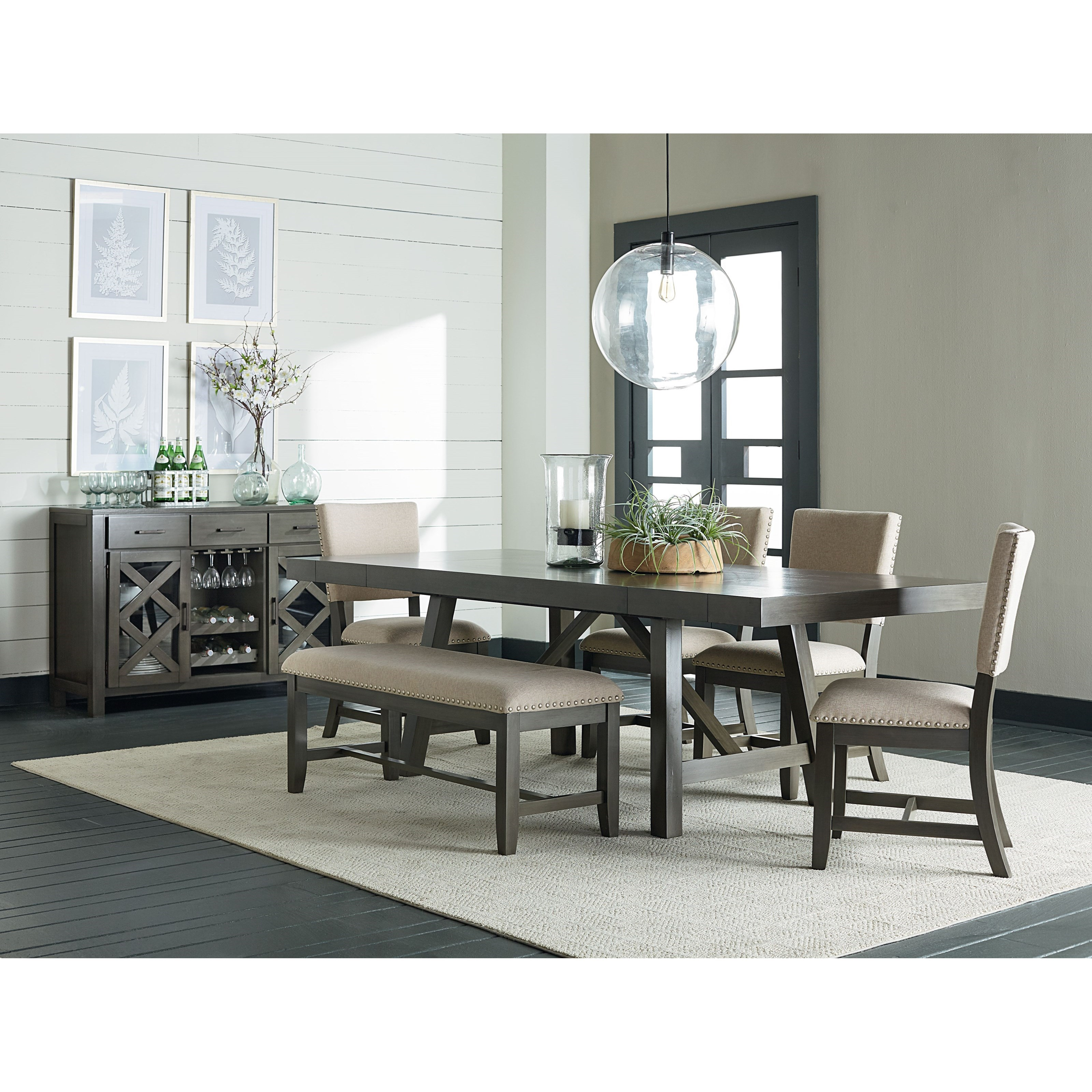 Standard Furniture Omaha Grey Upholstered Side Chair With Wooden Base Jacksonville Furniture