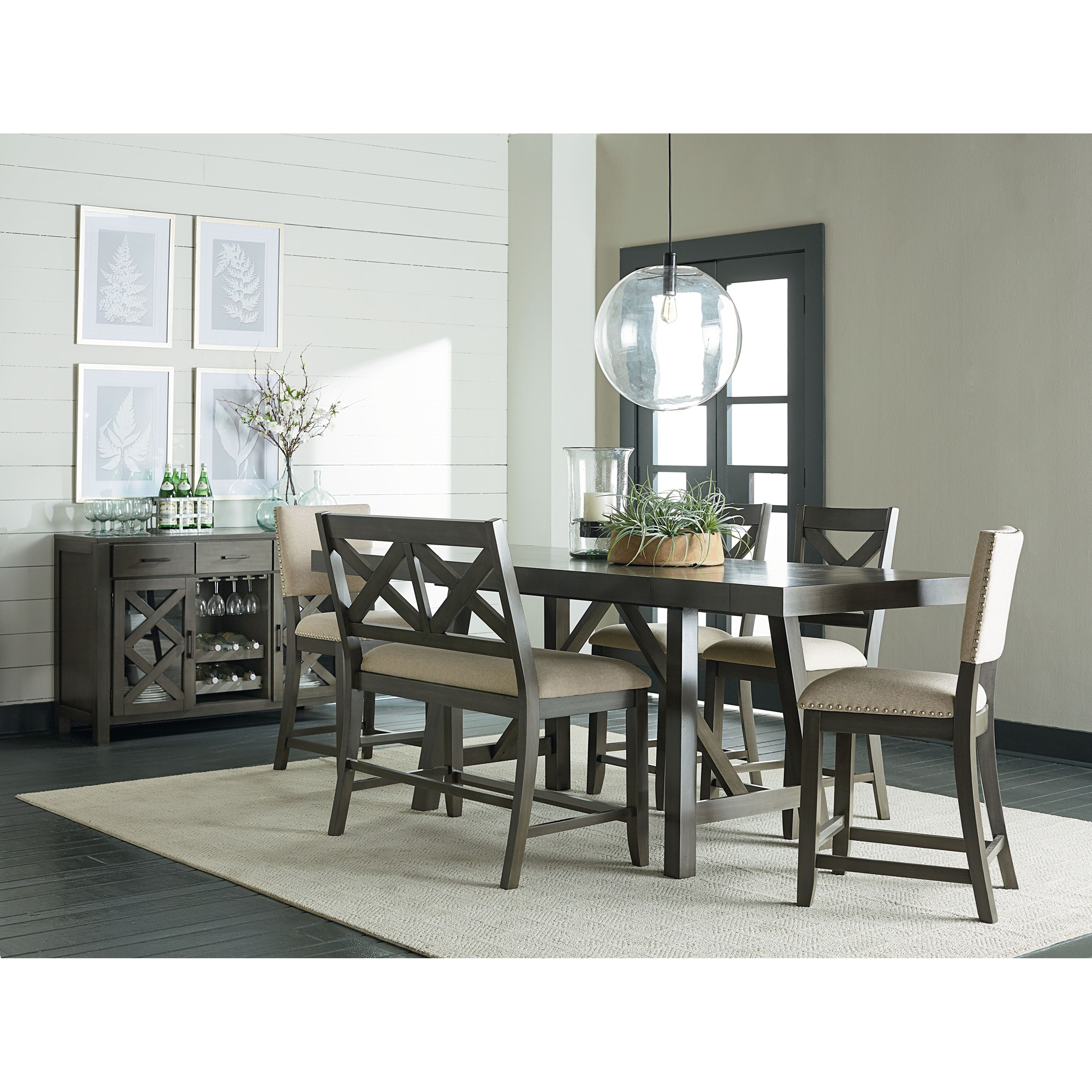 Standard Furniture Cambria Rectangular White Wood And: Standard Furniture Omaha Grey 6 Piece, Counter Height
