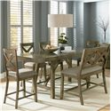 Standard Furniture Omaha Grey Trestle Table Dining Set - Item Number: 16696+99+4x94