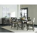 Standard Furniture Omaha Grey Upholstered Counter Height Dining Bench with X-Motif
