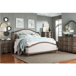 Standard Furniture Parliament King Upholstered Bed, Dresser, Mirror & Nigh