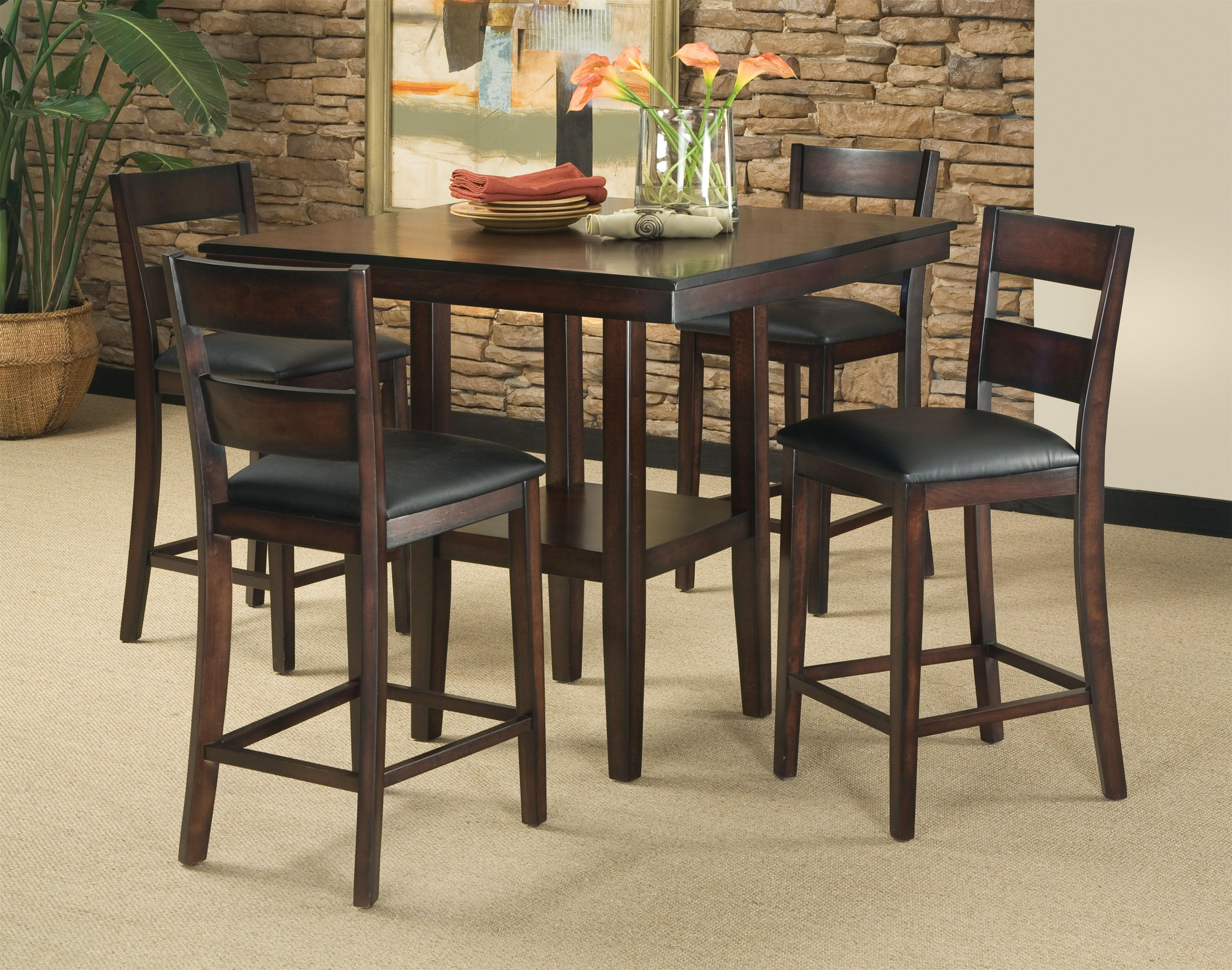 5 piece contemporary pub height table barstool set for High dinner table set