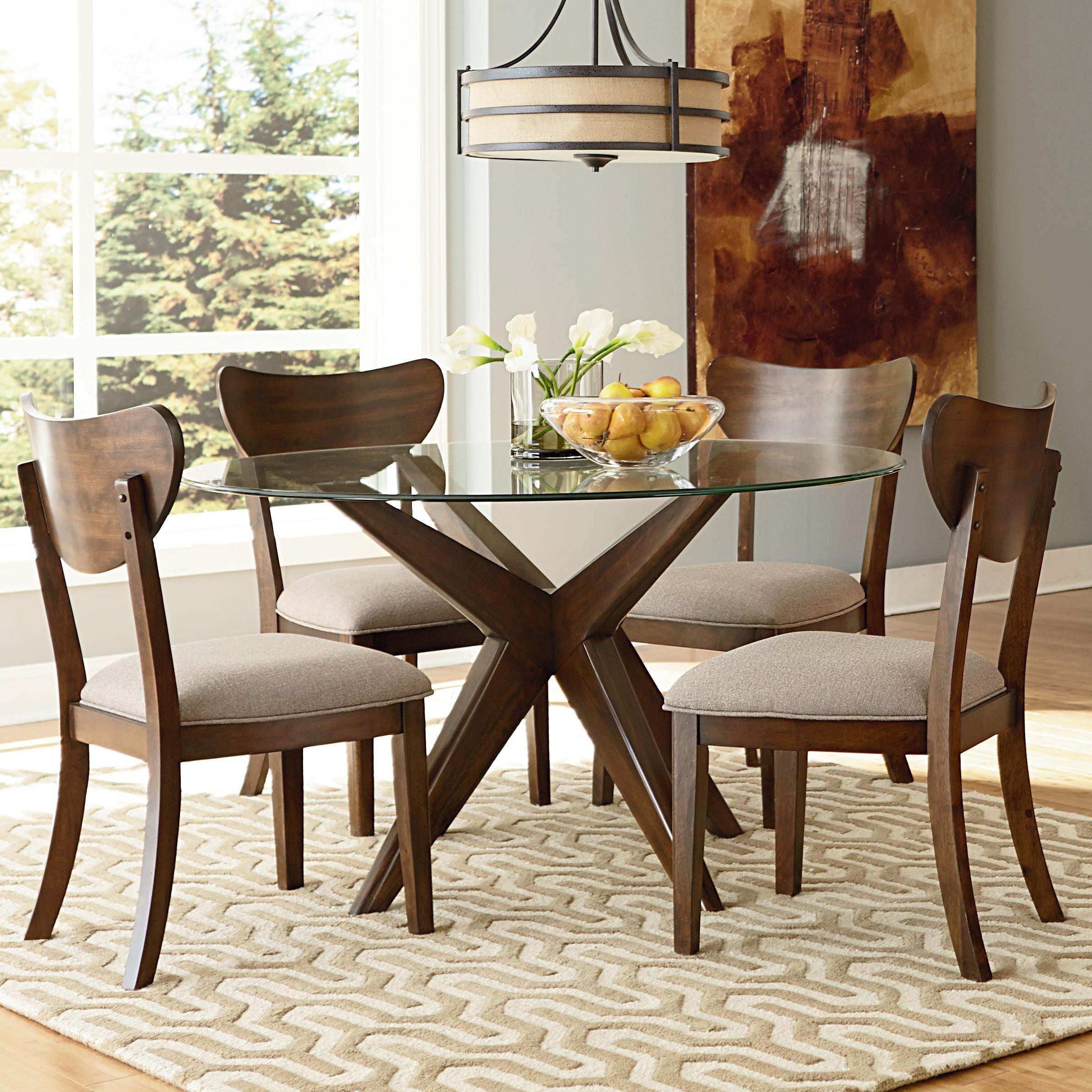"Standard Furniture Roxbury 48"" Round Glass Table & Chair Set - Item Number: 16206+10021048+4x16204"