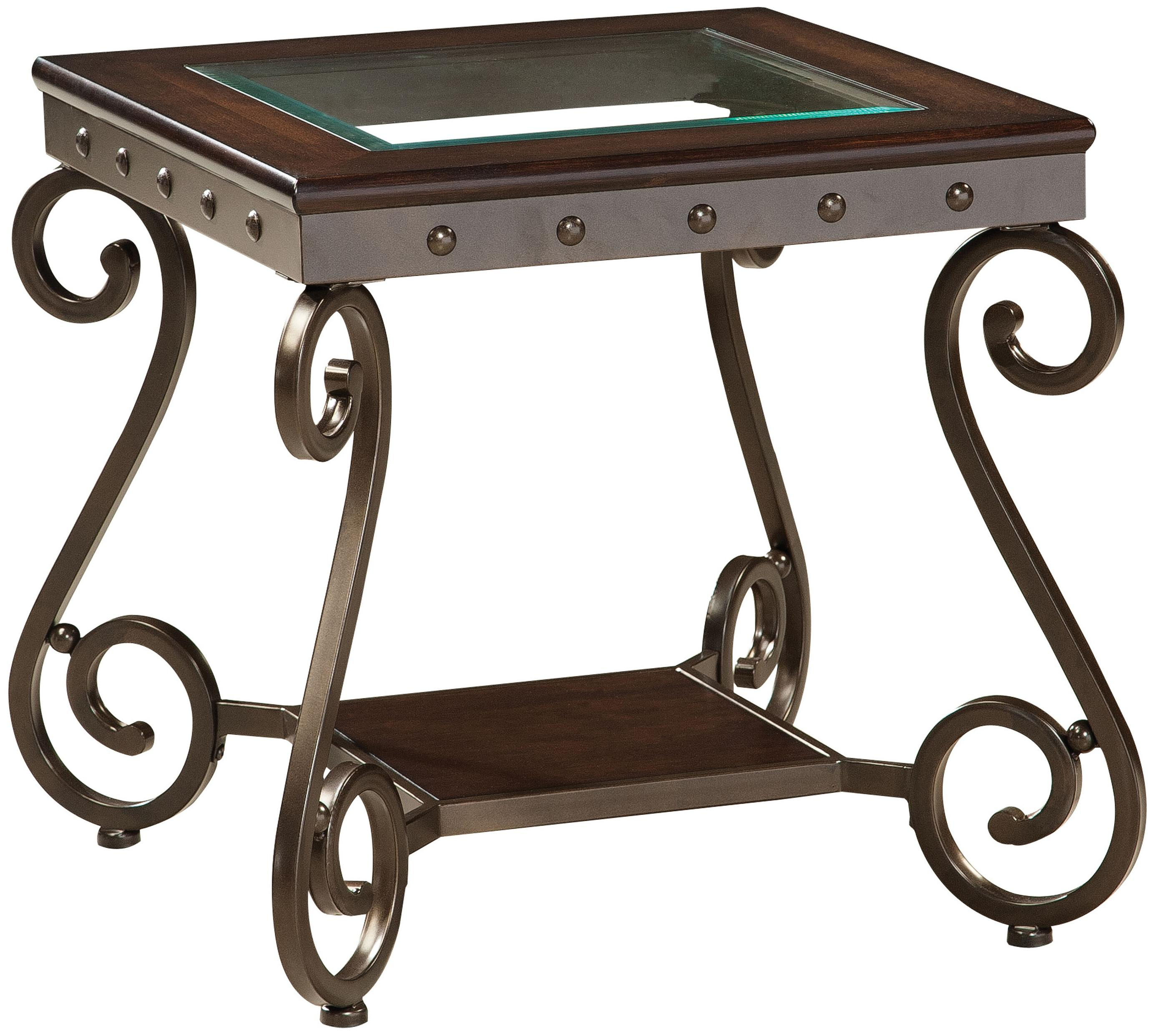Standard Furniture Saratoga Cocktail Table and 2 End Tables Set with Shelf and Vintage Ironwork ...