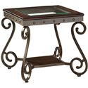 Standard Furniture Saratoga Cocktail Table and End Table Set with Shelf and Vintage Ironwork
