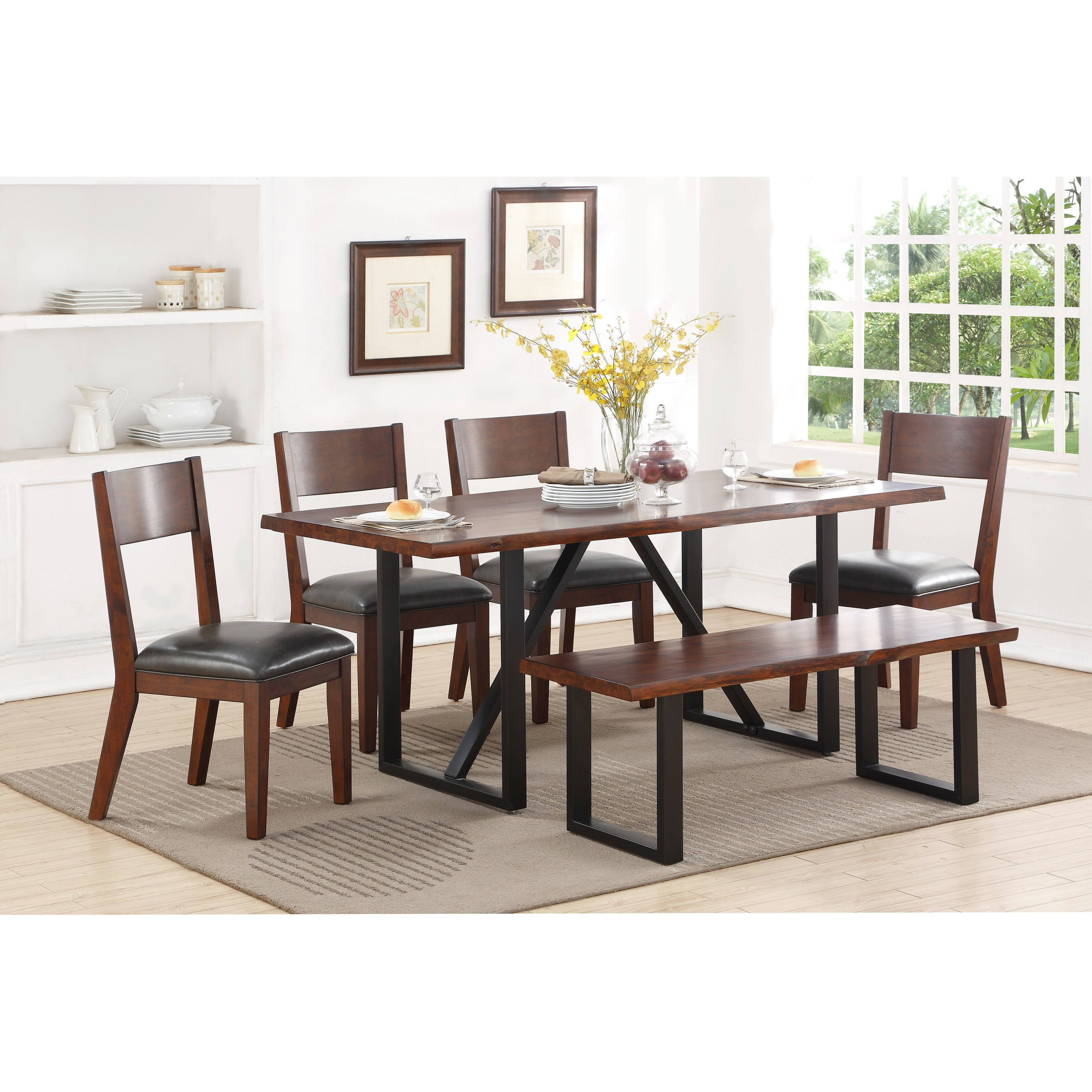 Standard Furniture Sierra II Rustic Table Set with Dining Bench