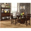 Standard Furniture Sonoma Counter Height Table with Storage - Shown with Coordinating Counter Height Stools and Sideboard Buffet with Hutch