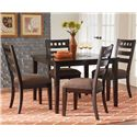 Standard Furniture Sparkle 5-Piece Leg Dining Table with Multi-Toned Brown and Gold Glass Tile Inserts