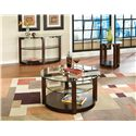 Standard Furniture Coronado Round Cocktail Table with Glass Top - Shown with Sofa Table and End Table