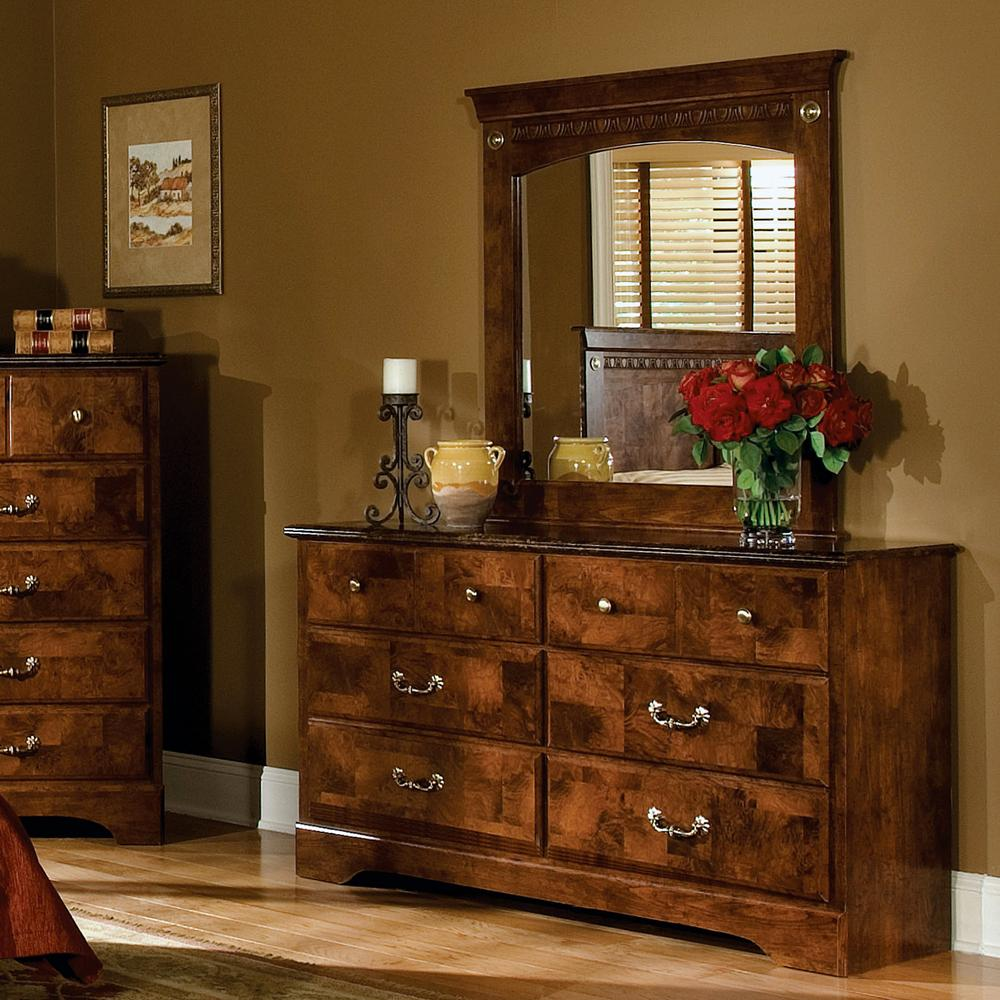 Standard Furniture San Miguel Six Drawer Dresser and Panel Mirror - Item Number: 51109+51118