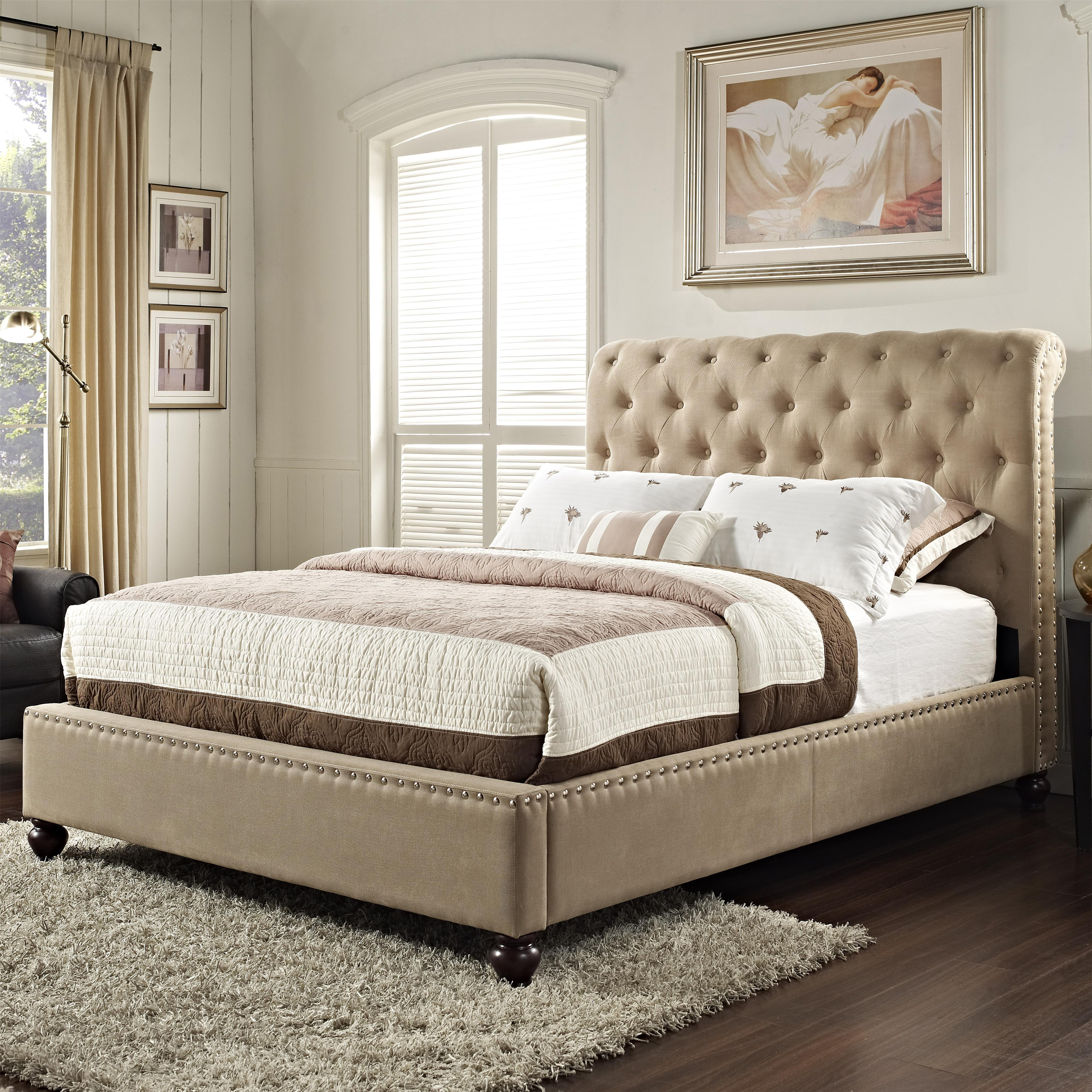 Standard Furniture Stanton Upholstered Queen Bed with Rolled and ...