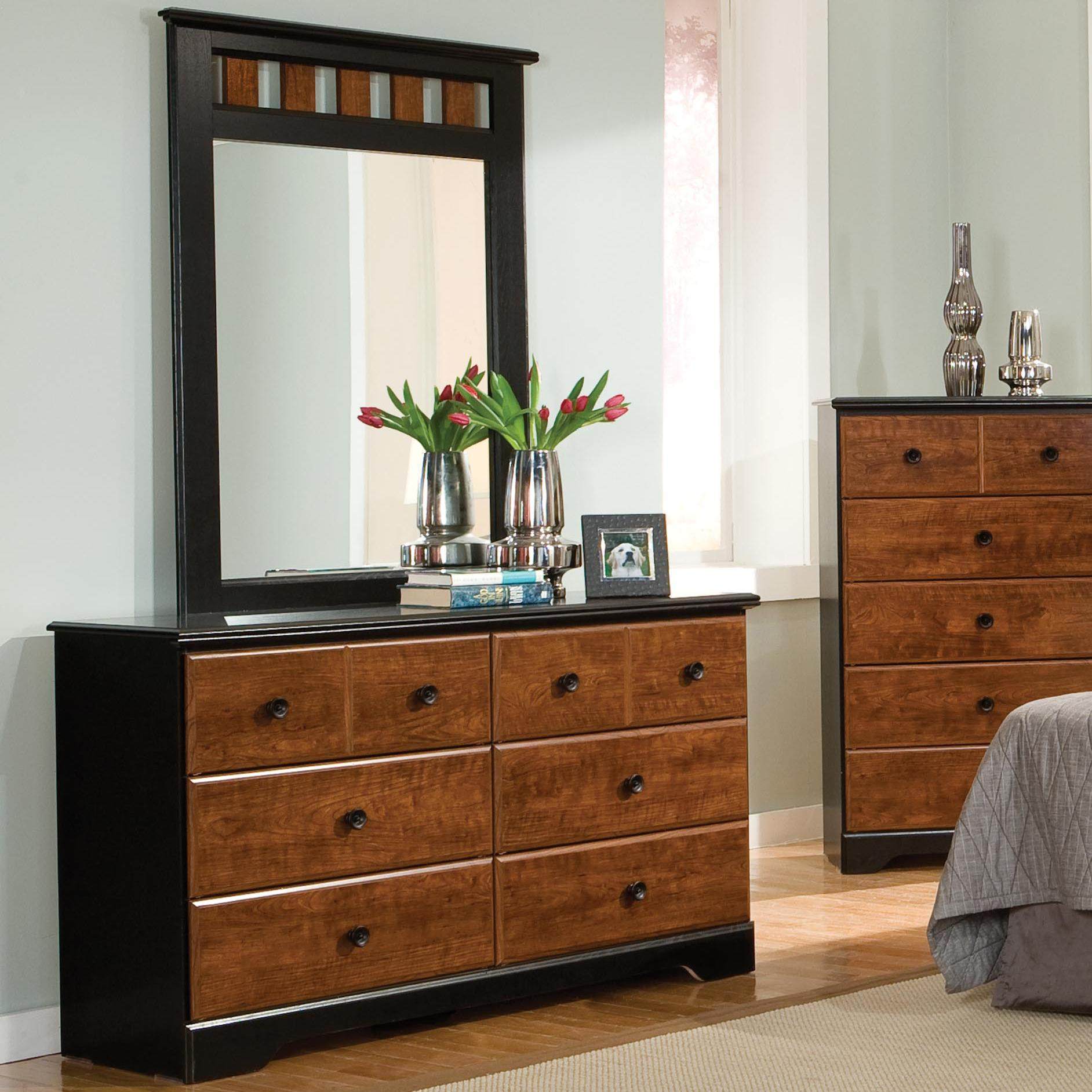 Standard Furniture Steelwood Dresser and Mirror Combinations - Item Number: 61259+68