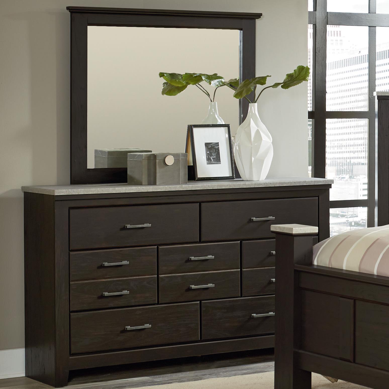 Vendor 855 Stonehill Dark Dresser + Mirror - Item Number: 63959+68