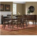 Vendor 855 Woodmont Upholstered Arm Chair with Scroll Back & Turned Legs - Shown with Side Chair, Leg Table & Sideboard