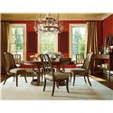 Stanley Furniture Archipelago Monserrat Round Pedestal Table & Leaf - 186-11-30 - Shown with Bequia Host Chairs, Port Royal Side Chairs, Ripple Cay Serving Table, and Tradewinds Landscape Mirror