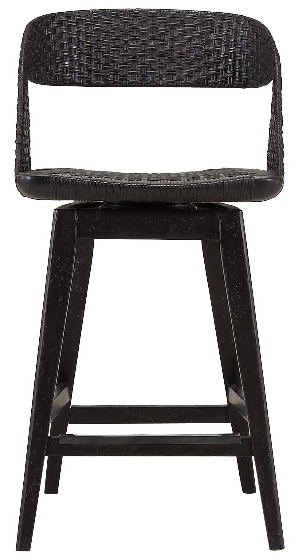 Archipelago Tambu Counter Stool With Woven Material Back And Swivel Seat By Stanley  Furniture