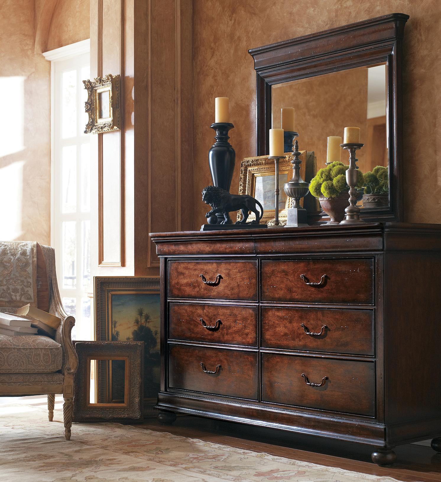 Stanley Furniture The Classic Portfolio - Louis Philippe Dresser & Mirror - Item Number: 058-13-30+05