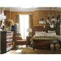 Stanley Furniture The Classic Portfolio - Louis Philippe Cal King Panel Bed w/ Headboard & Footboard - Shown with Dressing Chest, Mirror, and Telephone Table