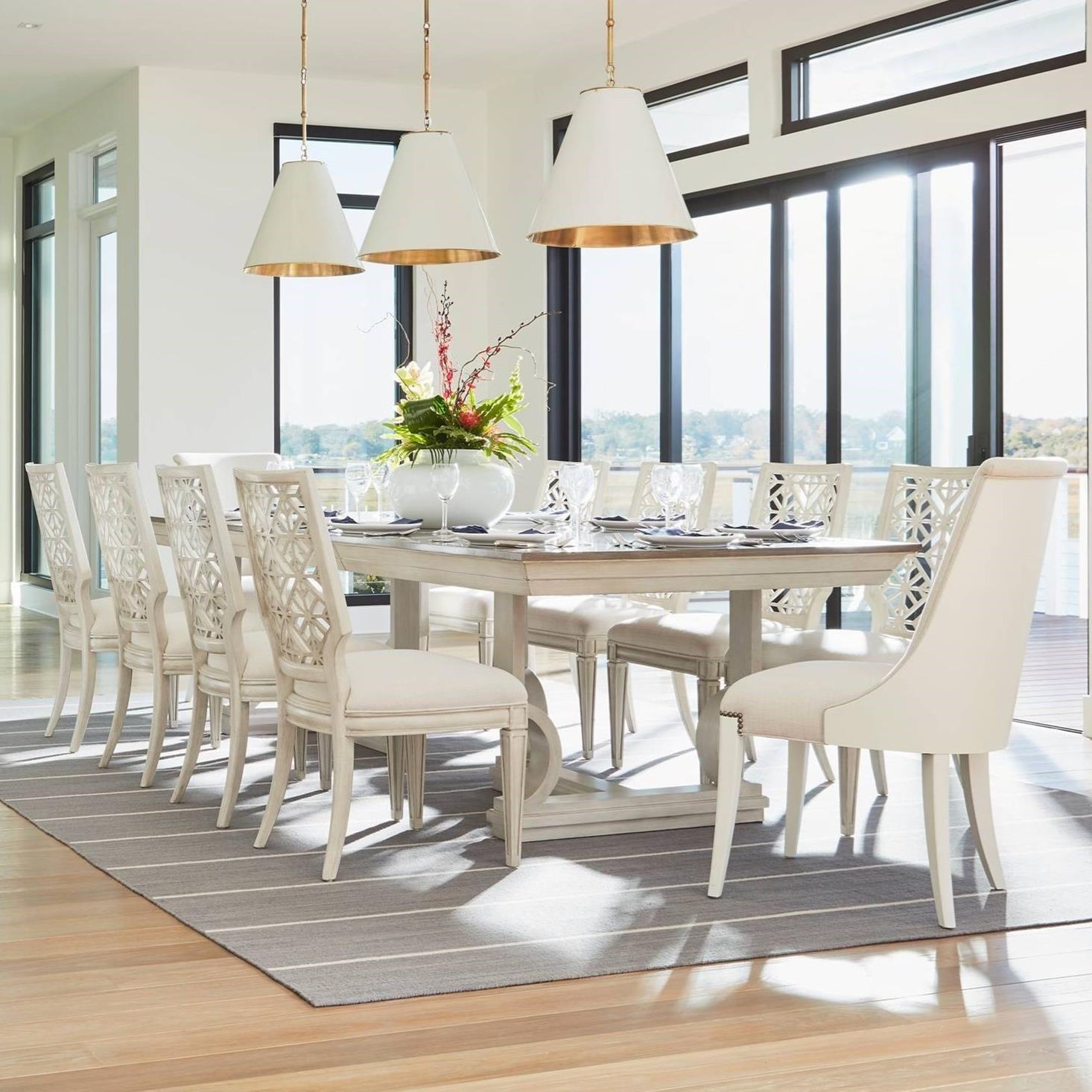 Stanley Furniture Coastal Living Oasis 11-Piece Moonrise Pedestal Dining Table Set - Item Number: 527-51-36+2x21-75+8x51-60