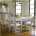 Stanley Furniture Coastal Living Resort Hexagon-Shaped Soledad Promenade Leg Table - Shown with Heritage Coast Side Chairs, Heritage Coast Arm Chairs, Esplanade Buffet, and Pacific Pointe Landscape Mirror