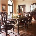 Stanley Furniture Costa del Sol Messalina's Blessings Upholstered Scroll Back Arm Chair - Shown with Scroll Back Side Chairs and Leg Dining Table