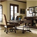 Stanley Furniture Costa del Sol Perdonato  Leather Arm Chair with Nail Head Trim - Shown in Office Setting with Writing Desk