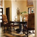 Stanley Furniture Costa del Sol Andalusian Dining Table with Round Top and Pedestal Base - Shown with Leather Arm Chairs