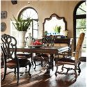 Stanley Furniture Costa del Sol Messalina's Blessings Upholstered Scroll Back Side Chair - Shown with Dining Leg Table and Leather Arm Chair