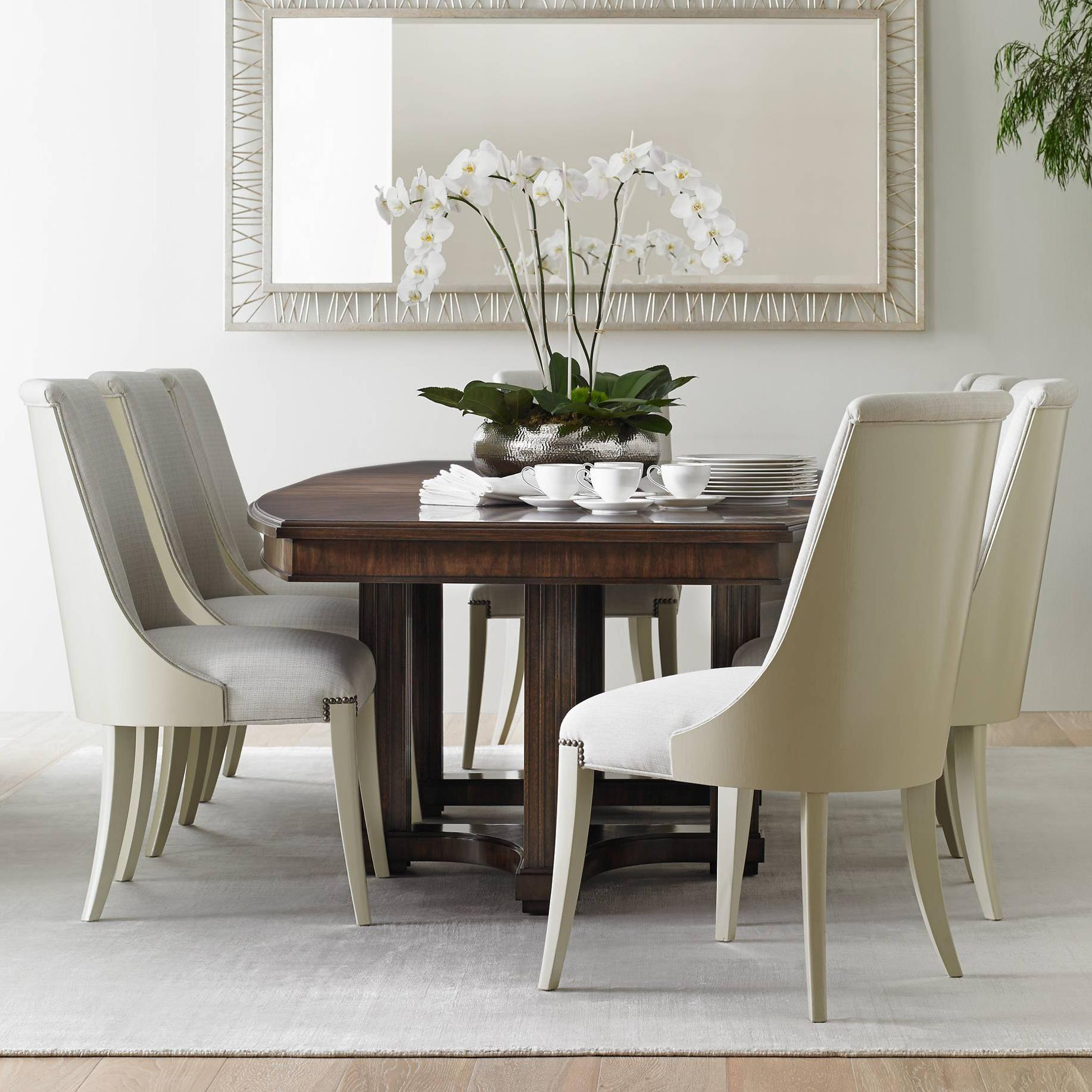 Stanley Furniture Crestaire 9-Piece Lola Double Pedestal Table Set - Item Number: 436-11-36+8x21-75