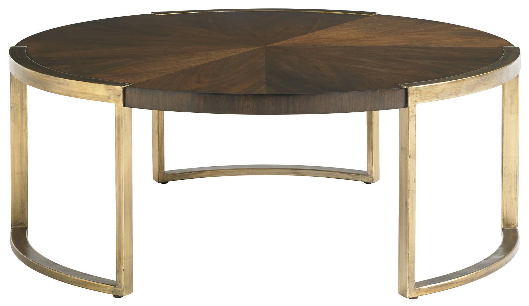 Stanley Furniture Crestaire 436 15 01 Mid Century Modern Autry Round Cocktail Table With Walnut