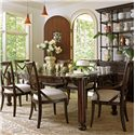 Stanley Furniture European Farmhouse Farmer's Market Table - Shown with Fairleigh Fields Host and Guest Chairs, Campagne Cabinet, and L\'Acrobat Open Air Shelf
