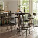 Stanley Furniture European Farmhouse Artisan's Apprentice Barstool - Shown with Winemaker\'s Tasting Table and Belgian Cross Huntboard