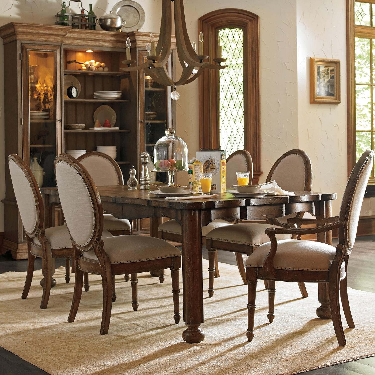 Stanley Furniture European Farmhouse 7 Piece Farmeru0027s Market Table U0026  Million Stars Chairs Set   AHFA   Dining 7 (or More) Piece Set Dealer  Locator