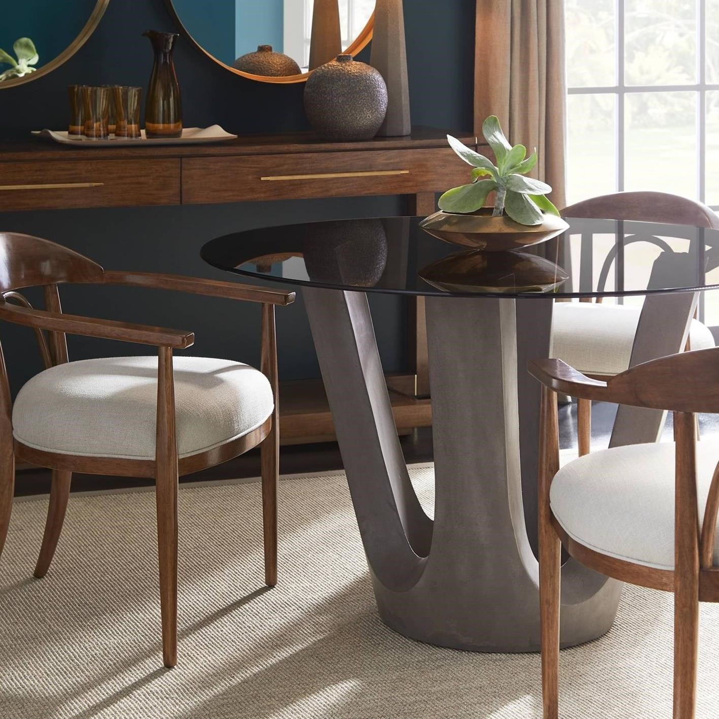 """Stanley Dining Room Furniture: Stanley Furniture Panavista 5-Piece 48"""" Glass Top Dining"""