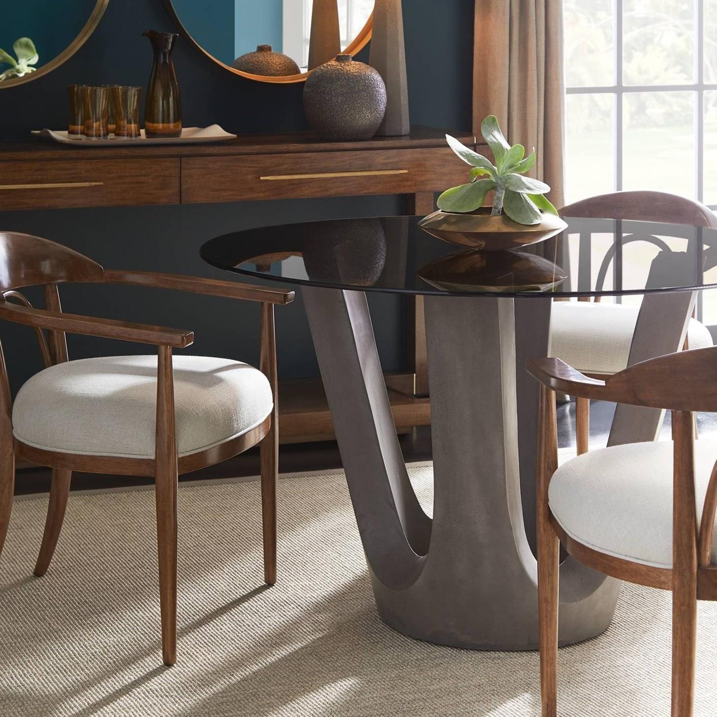 Stanley Furniture Panavista 5 Piece 48 Glass Top Dining Table Set