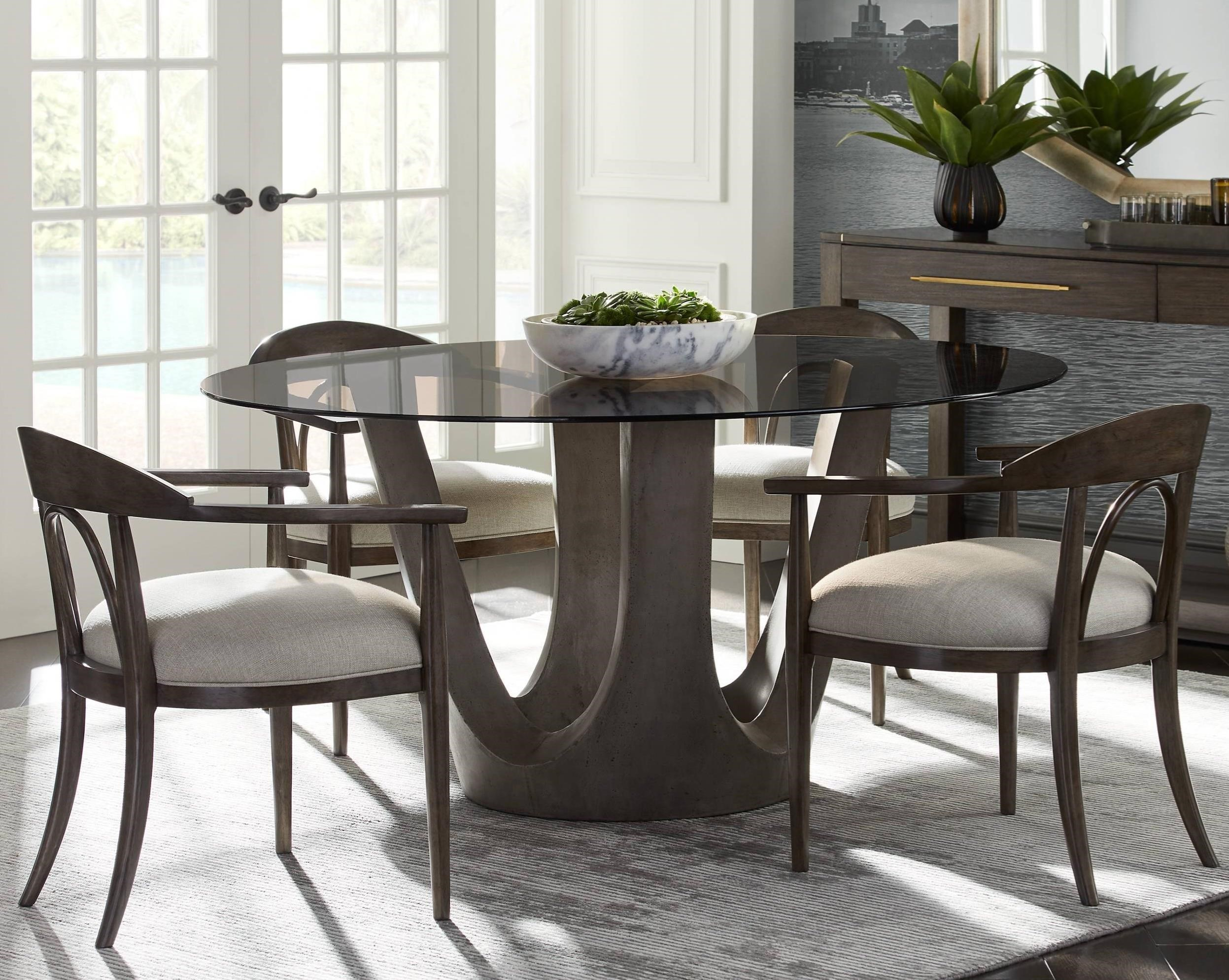 Panavista 5 Piece 54 Glass Top Dining Table Set By Stanley Furniture At Dunk Bright Furniture