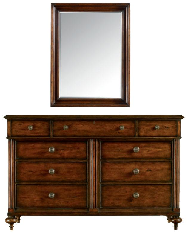 Stanley Furniture The Classic Portfolio - British Colonial 9 Drawer Dresser & Mirror - Item Number: 020-63-05+30