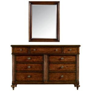 Stanley Furniture The Classic Portfolio - British Colonial 9 Drawer Dresser & Mirror