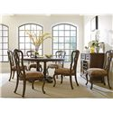 """Stanley Furniture Rustica Side Chair w/ Paisley Upholstered Seat - Shown with 64"""" Round Table and Dining Cabinet"""