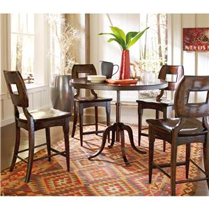 Stanley Furniture The Classic Portfolio Artisan 5Pc Adjustable Height Table & Counter Stools