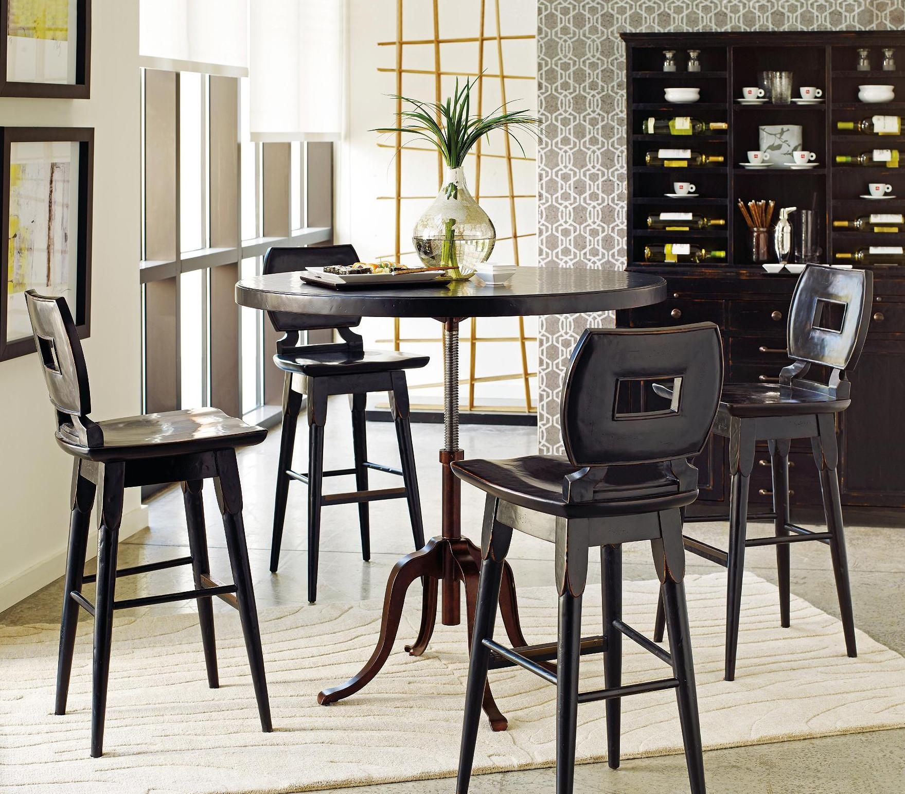 Stanley Furniture The Classic Portfolio Artisan 5Pc Adjustable Height Table and Bar Stools - Item Number: 135-81-230+130+4x73