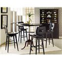 Stanley Furniture The Classic Portfolio Artisan Adjustable Height Table with Round Table Top & Industrial Metal Base - Shown at Bar Height with Bar Stools